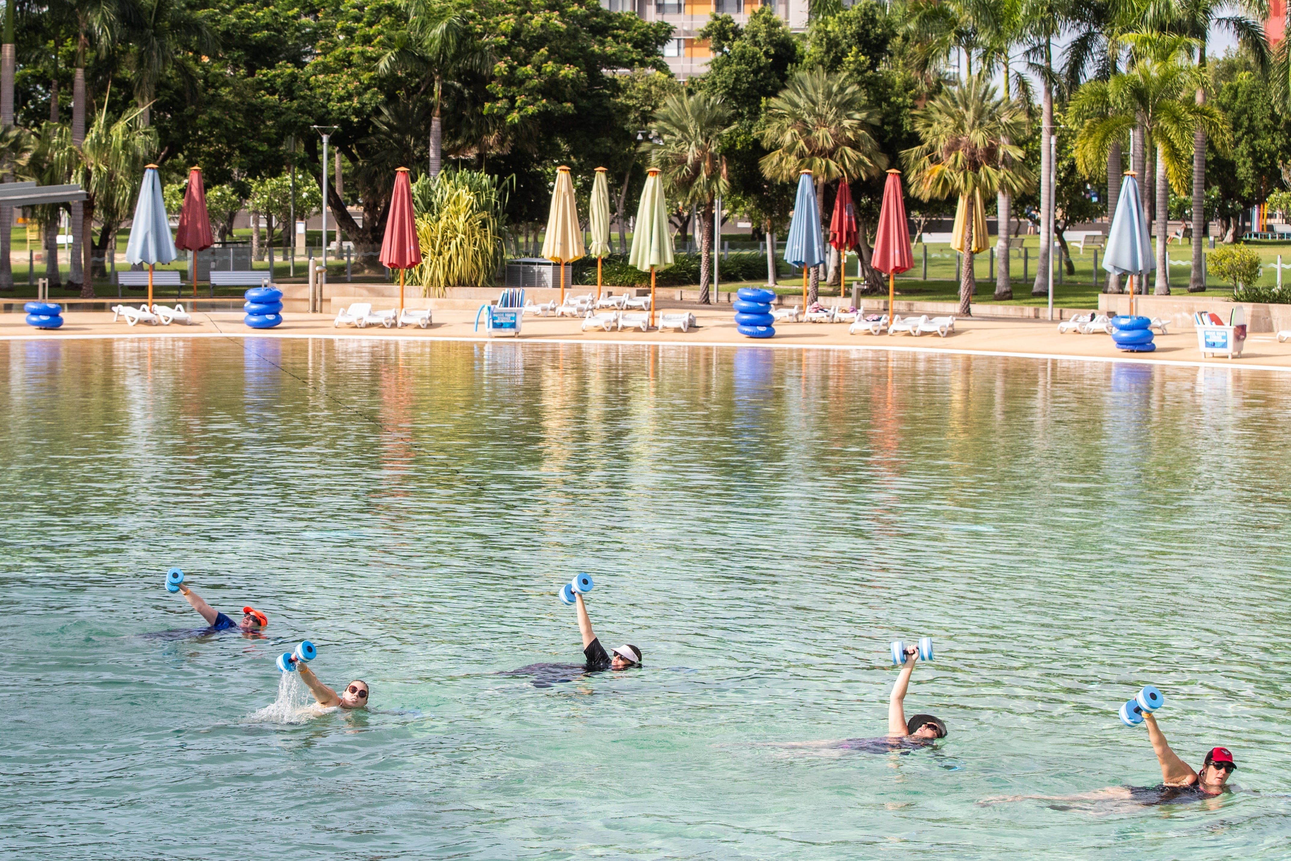 Aqua fitness in the Wave Lagoon - Accommodation Airlie Beach